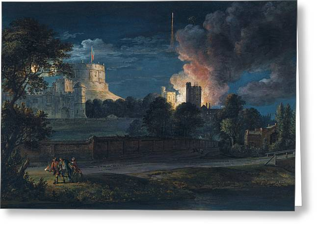 Windsor Castle From Datchet Lane On A Rejoicing Night Greeting Card