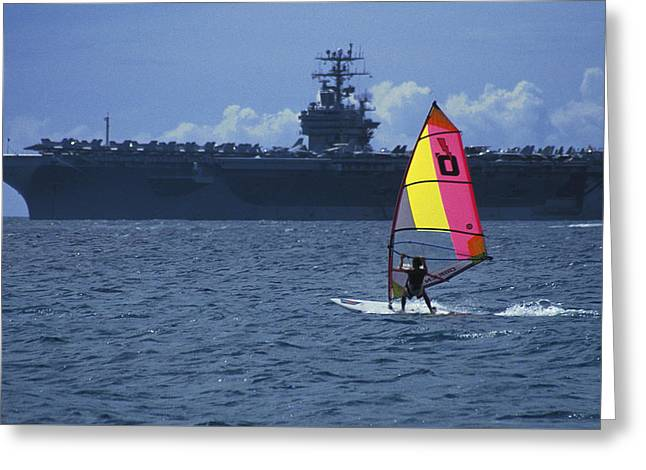 Greeting Card featuring the photograph Windsurfer And Aircraft Carrier by Carl Purcell