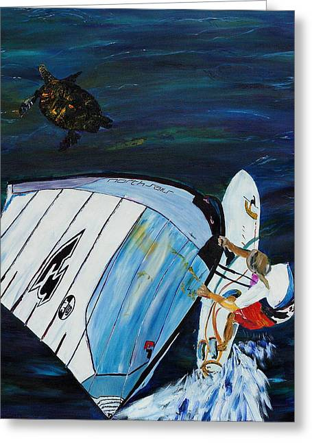 Windsurfer And Sea Turtle Greeting Card by Impressionism Modern and Contemporary Art  By Gregory A Page