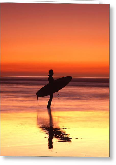 Windsurfer At Widemouth Bay, Bude, Cornwall Greeting Card