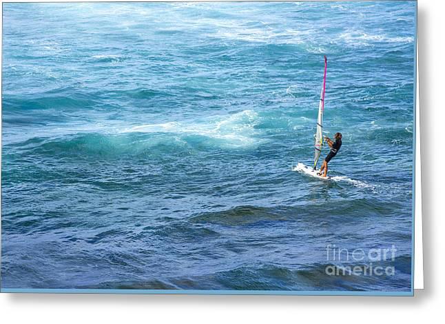 Windsurfer In Maui Hawaii Greeting Card by Diane Diederich