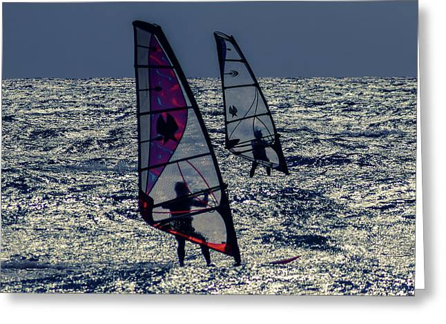 Windsurfers Greeting Card by Stelios Kleanthous