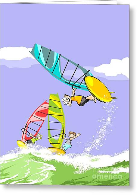 Windsurfing Fun On Vacation Three Friends Jump On The Waves On Their Colorful Windsurf Boards Greeting Card