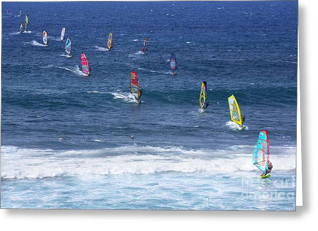 Windsurfing In Maui Hawaii Greeting Card by Diane Diederich