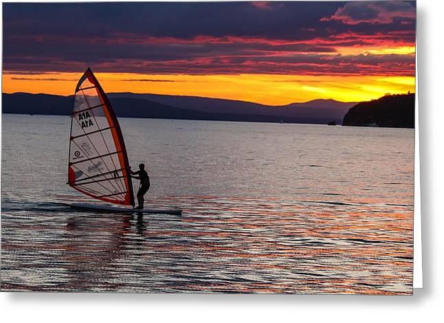 Windsurfing Lake Champlain Greeting Card