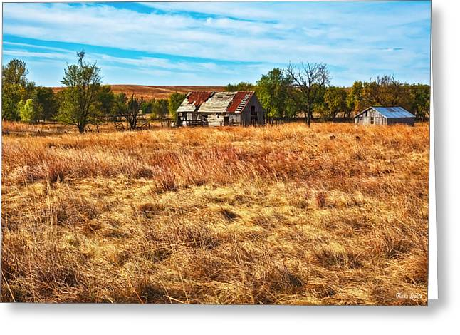 Windswept Prairie Barn Greeting Card by Anna Louise