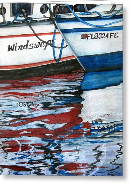 Greeting Card featuring the painting Windswept Reflections Sold by Lil Taylor
