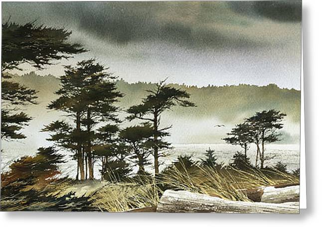 Windswept Shore Greeting Card by James Williamson