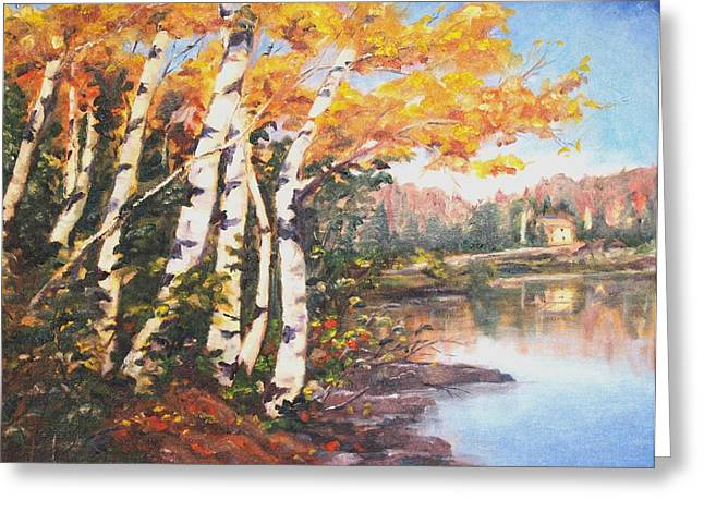 Greeting Card featuring the painting Windy Birches by Diane Daigle