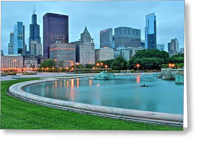 Windy City Fountain Greeting Card by Frozen in Time Fine Art Photography
