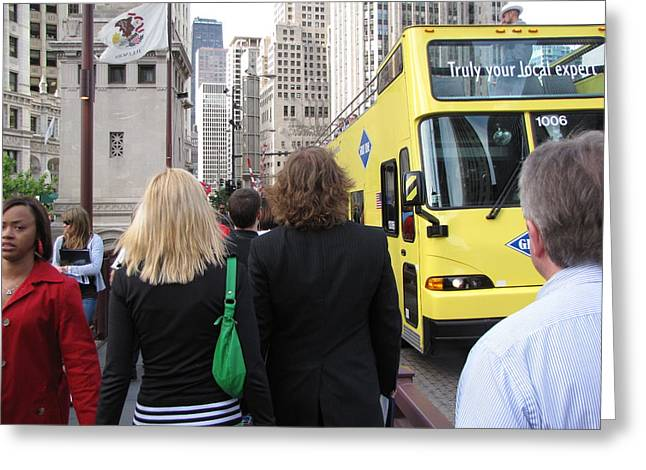 Windy City Walkabout Greeting Card by Sylvia Wanty