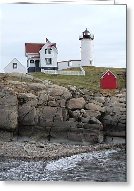 Windy Day At Nubble Light Greeting Card by Katie Beougher