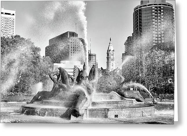 Windy Day At Swann Memorial Fountain In Black And White Greeting Card by Bill Cannon