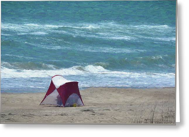 Windy Day Beach Tent Greeting Card