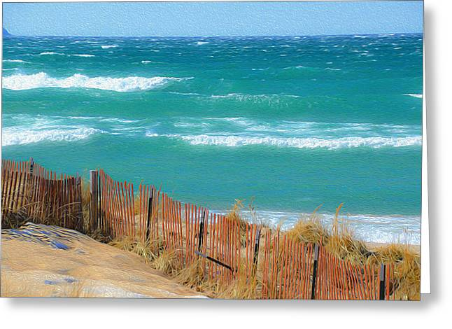 Greeting Card featuring the photograph Windy Day On Lake Michigan by SimplyCMB