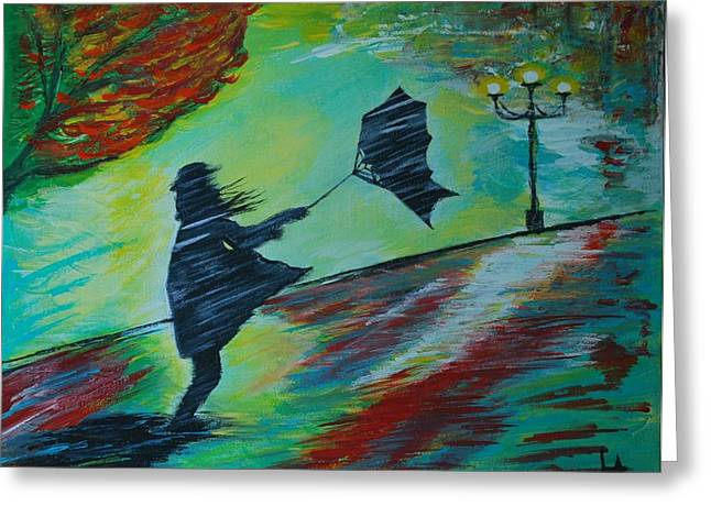 Greeting Card featuring the painting Windy Escapade by Leslie Allen