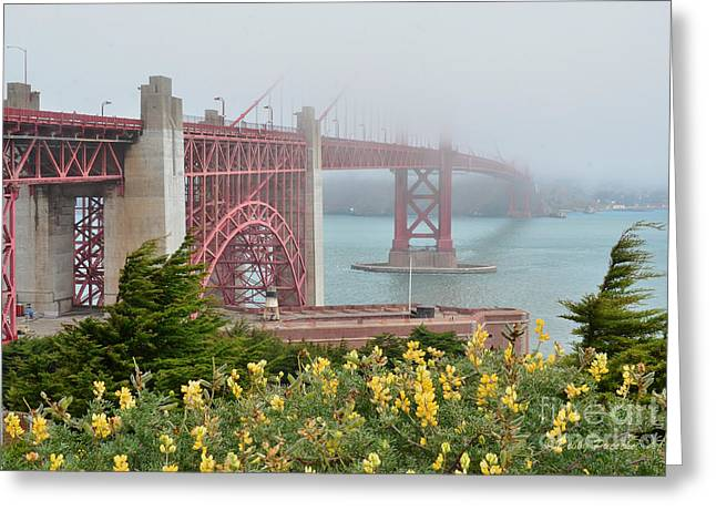 Windy Foggy Golden Gate Bridge  Greeting Card