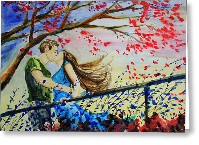Windy Kiss Greeting Card by Laura Rispoli
