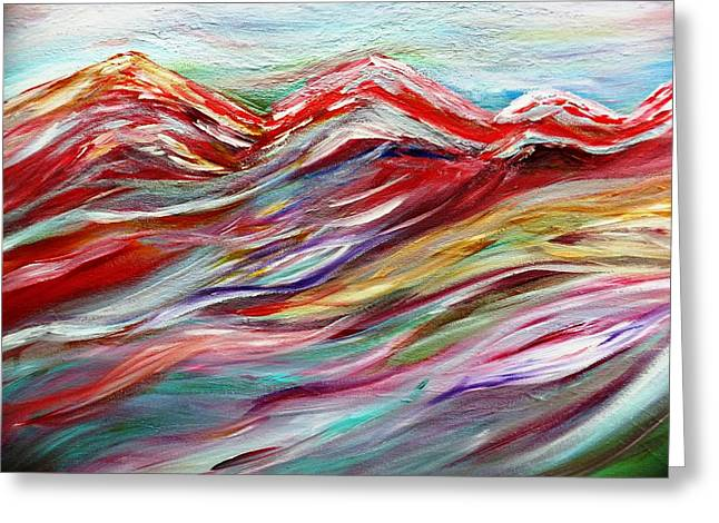 Windy Mountain Day Greeting Card by Amy Drago