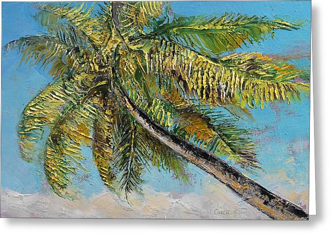 Windy Palm Greeting Card by Michael Creese