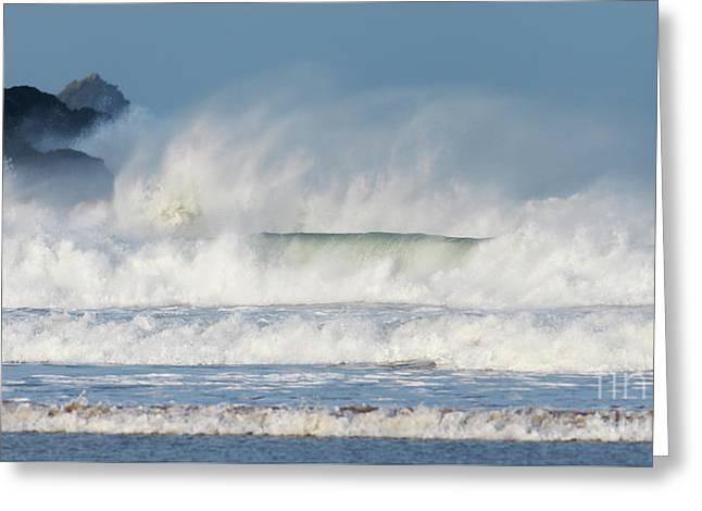 Greeting Card featuring the photograph Windy Seas In Cornwall by Nicholas Burningham