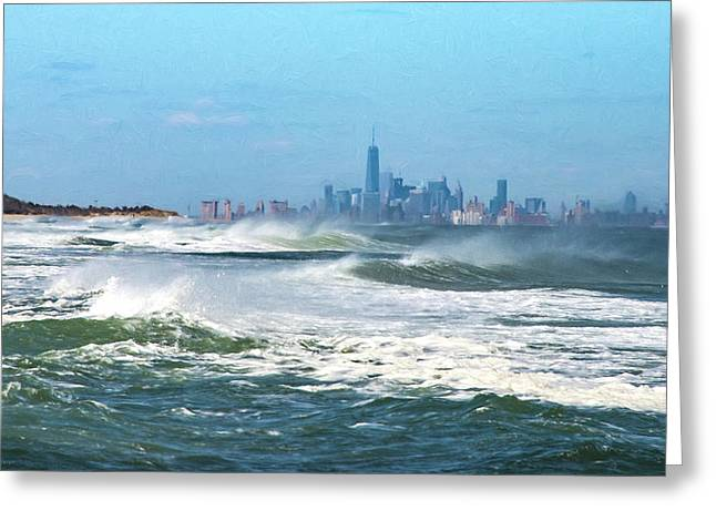 Windy View Of Nyc From Sandy Hook Nj Greeting Card