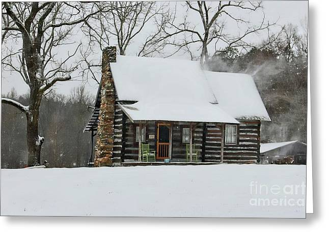 Windy Winter Day At The Cabin Greeting Card