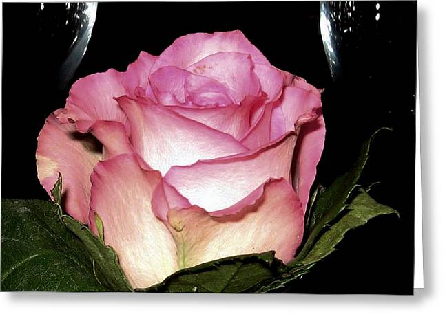 Wine And A Rose Greeting Card