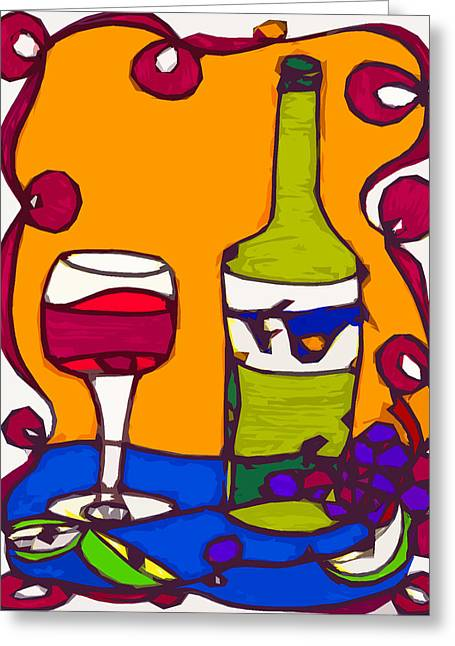 Wine Magazine Art Greeting Cards - Wine and Apple Slices Greeting Card by Suzanne  Frie