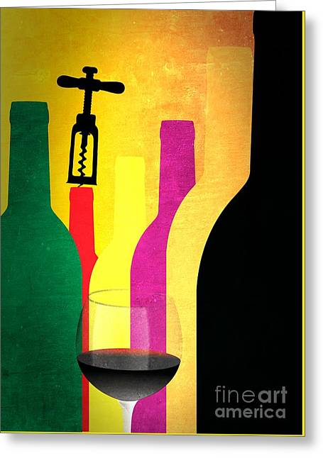 Wine And Bottles Greeting Card