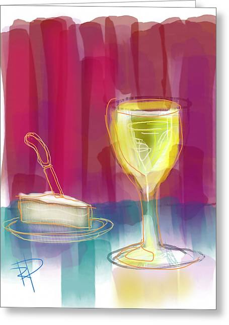 Wine And Cheese Greeting Card by Russell Pierce