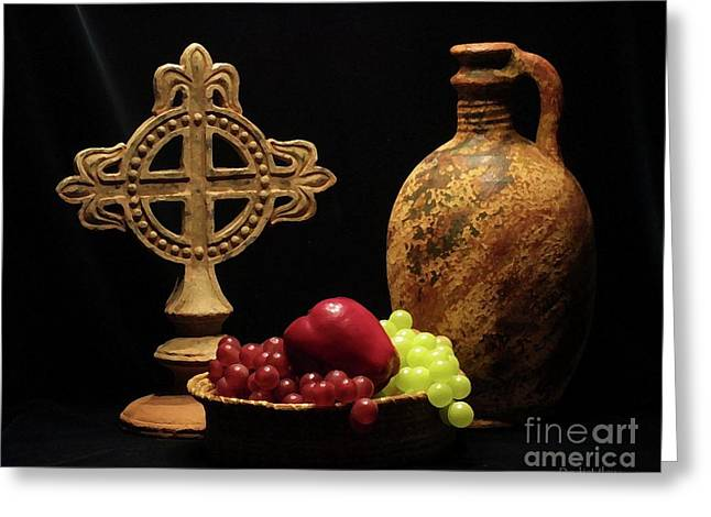 Greeting Card featuring the photograph Wine And Fruit by Dodie Ulery