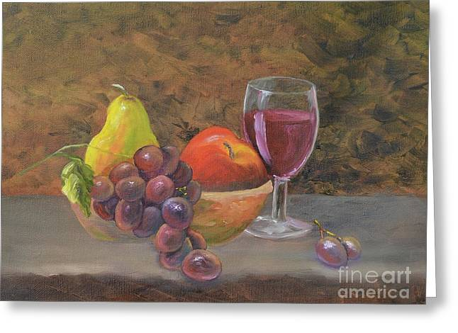 Greeting Card featuring the painting Wine And Fruit by Mary Scott