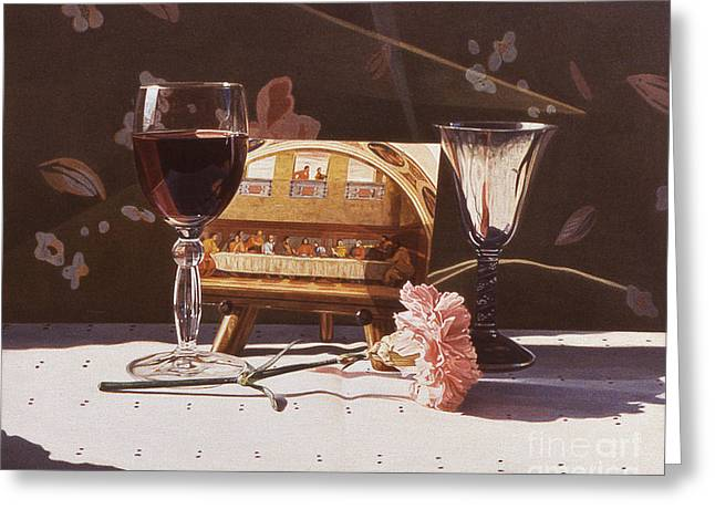 Wine And Last Supper Greeting Card by Daniel Montoya