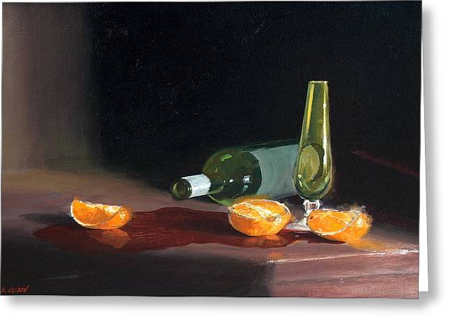 Wine And Oranges Greeting Card by Greg Clibon