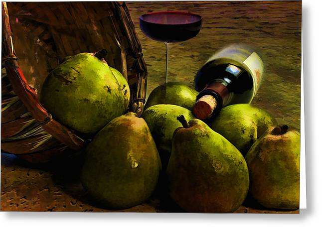 Greeting Card featuring the photograph Wine And Pears by Gary Smith
