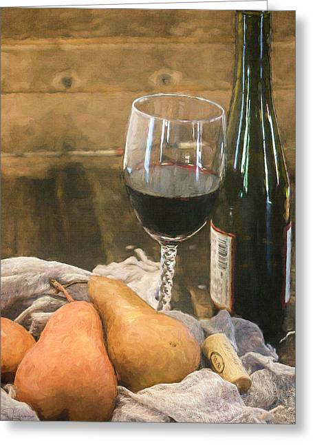 Wine And Pears Greeting Card