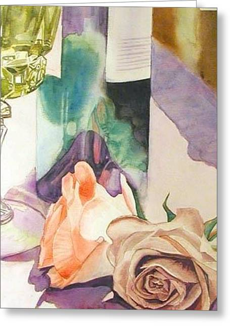 Greeting Card featuring the painting Wine And Roses by Martha Ayotte