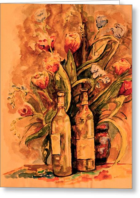 Wine And Tulips Greeting Card by Dan Earle