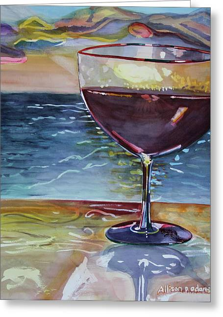 Wine And Water Greeting Card
