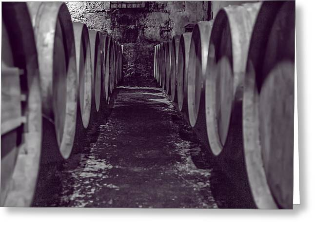 Wine Barrel Alley Greeting Card by Georgia Fowler