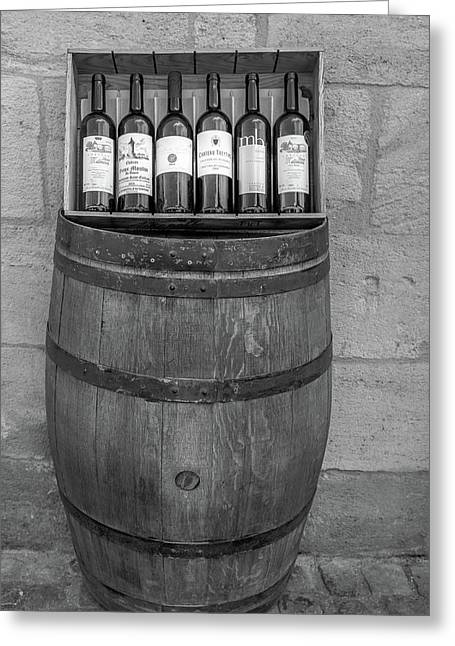 Wine Barrel And Bottles Greeting Card