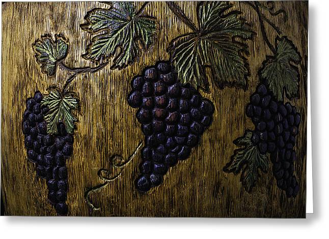 Wine Barrel Carvings Greeting Card by Garry Gay