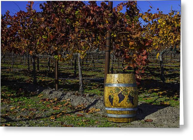 Wine Barrel In Vienyard Greeting Card by Garry Gay