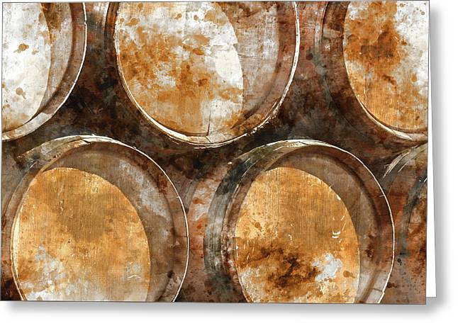 Wine Barrels Greeting Card by Brandon Bourdages