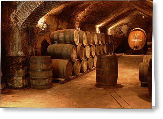 Wine Barrels In A Cellar, Buena Vista Greeting Card by Panoramic Images