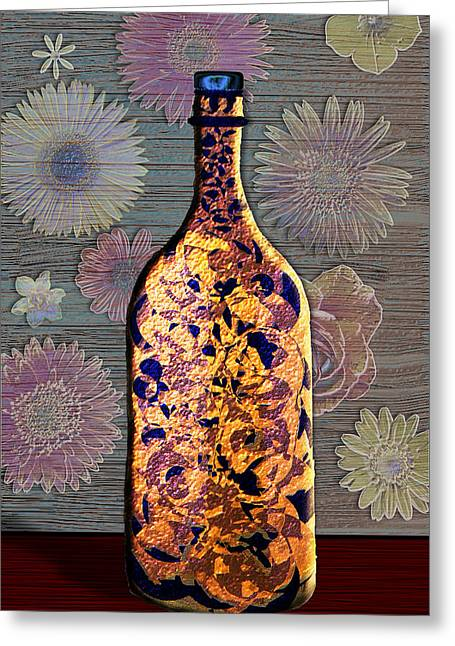 Greeting Card featuring the digital art Wine Bottle And Floral Wall by Iowan Stone-Flowers