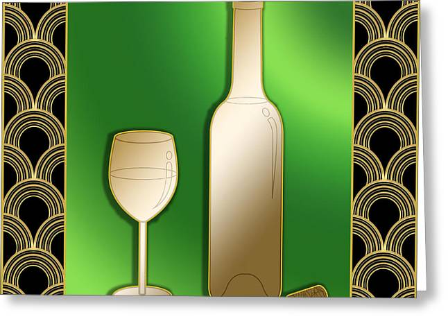 Greeting Card featuring the digital art Wine Bottle And Glass - Chuck Staley by Chuck Staley