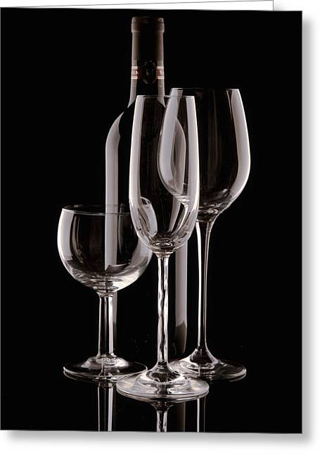 Wine Bottle And Wineglasses Silhouette Greeting Card