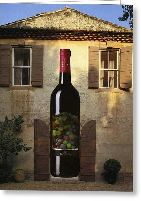 Wine Bottle At The Front Door Greeting Card by Francine Gourguechon